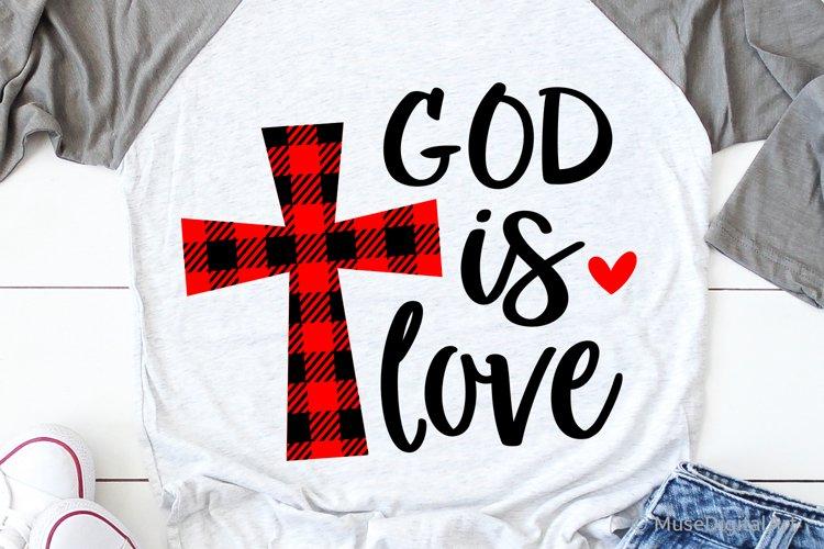 God Is Love Svg, So Loved Svg, Buffalo Plaid Svg, Scripture example image 1