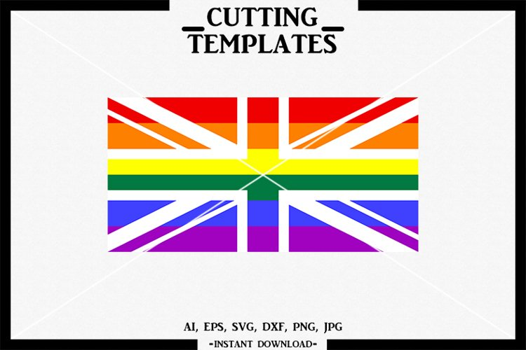 British LGBT Flag, LGBT, Silhouette, Cricut, Cameo,SVG, DXF example image 1