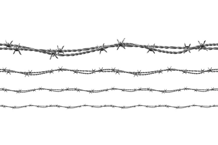 Twisted Barbed Wire Seamless Pattern Set Vector example image 1