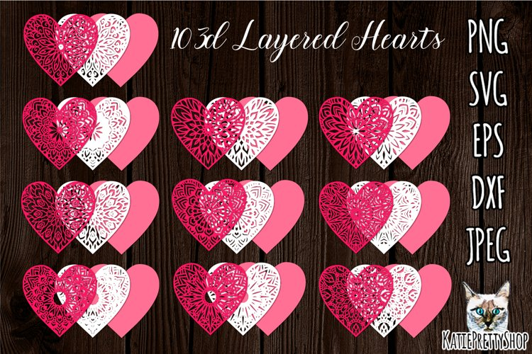 3d layered Hearts svg, Valentines day SVG, love heart