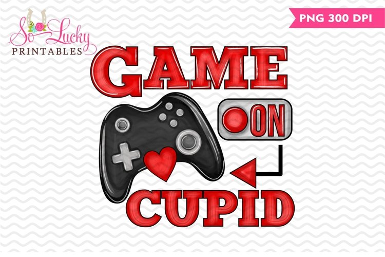 Game on Cupid Valentine printable sublimation design example image 1