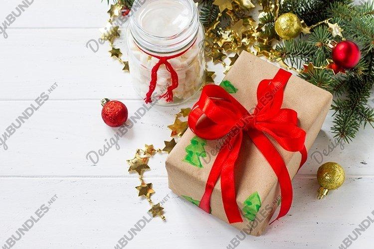 Christmas gift boxes background. example image 1