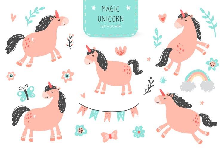 Magic Unicorn Digital Clipart, kids illustration, PNG, SVG example image 1