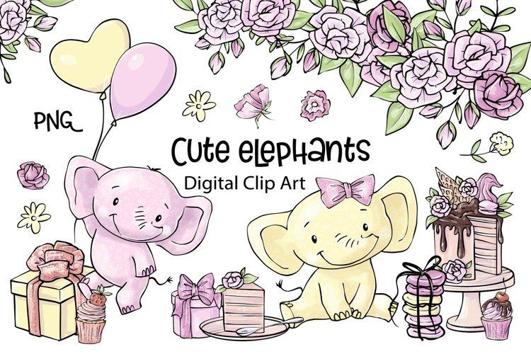 Cute cartoon elephant clipart