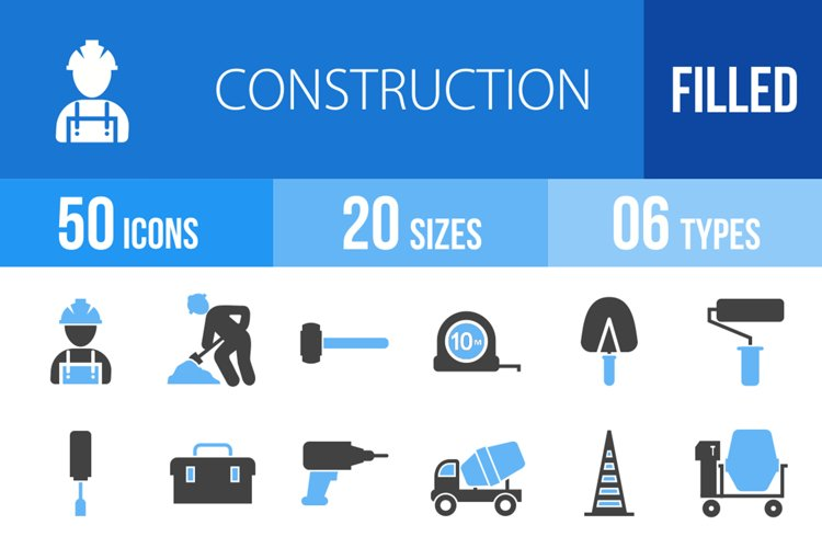 50 Construction Filled Blue & Black Icons example image 1