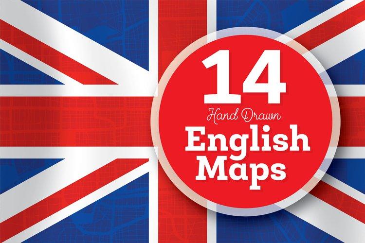 14 Hand Drawn English Maps Set. Vector Illustration.