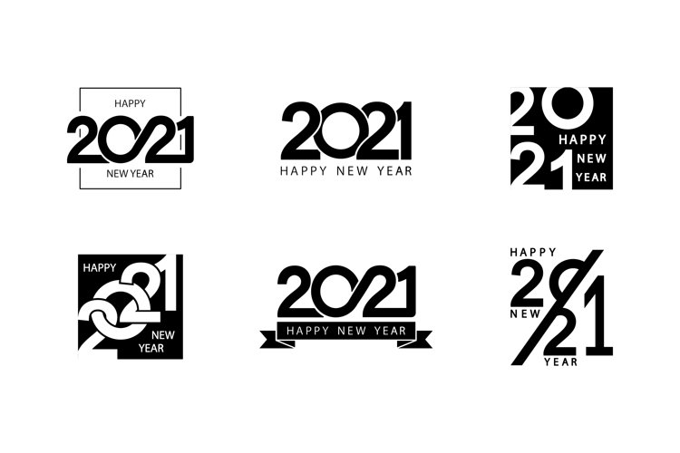 Collection of 2021 Happy New Year signs. Greeting card example image 1