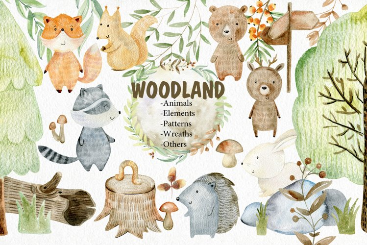 Woodland. Watercolor set. example image 1