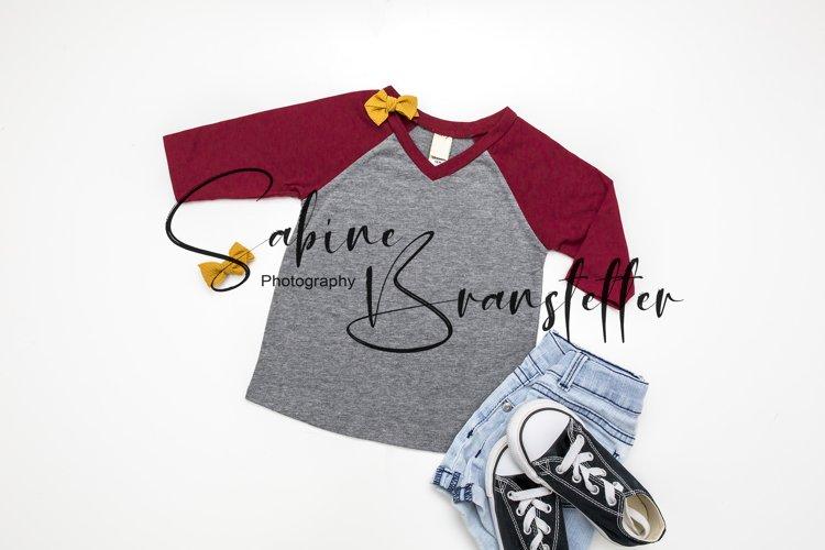 Styled Stock Photo Red Raglan Infant/Kids Girl Shirt Mockup