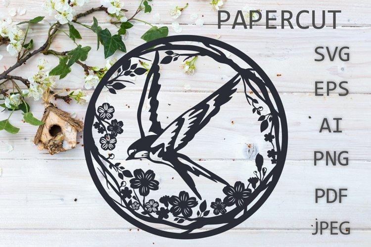 Paper cut SVG , Bird Flower papercut, paper craft Paper cut