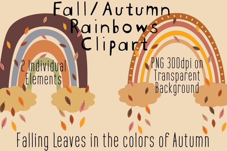 Fall Clipart, Cute Autumn Clipart, Rainbows, Fall Leaves