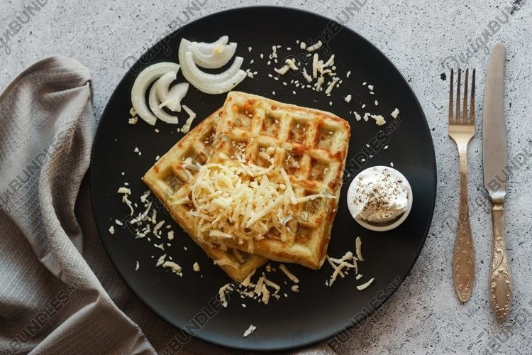 Waffles with zucchini and cheese