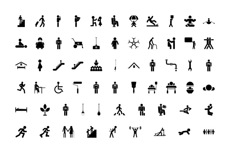 Stick figure black color set solid style example image 1