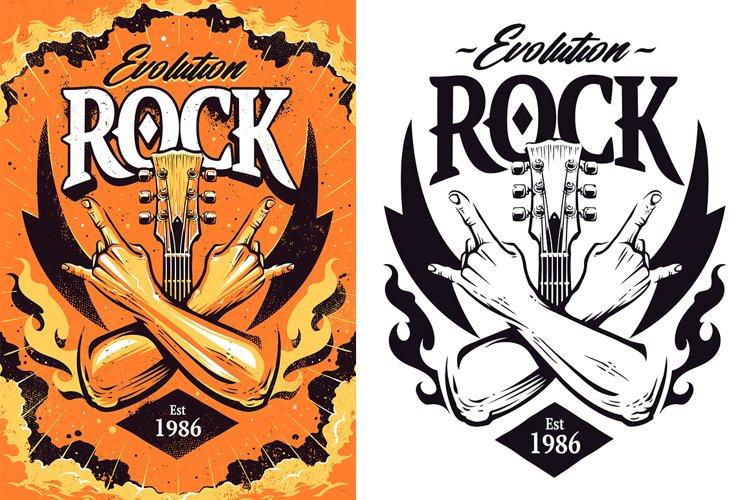 Rock Print Design | Vector Art example image 1