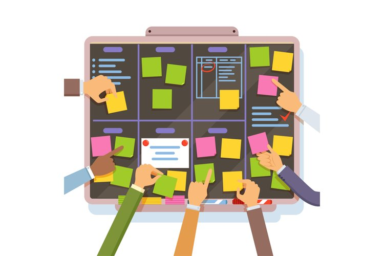 Agile project plan. Hands holding and put notes on the plann example image 1