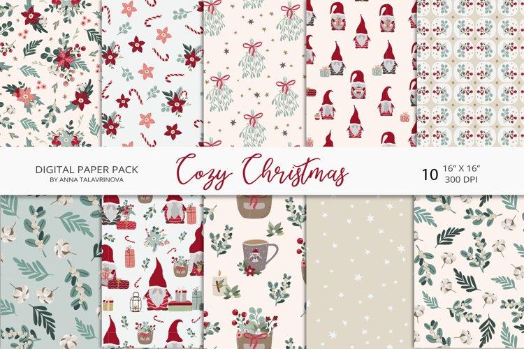 Cozy Christmas digital paper, christmas seamless pattern