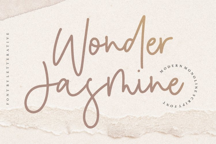 Wonder Jasmine Modern Monoline Script Font example image 1