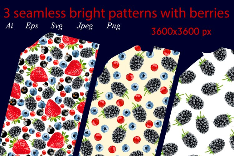 3 seamless bright patterns with berries