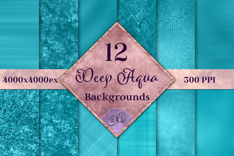 Deep Aqua Backgrounds - 12 Image Textures Set example image 1