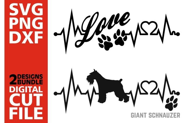 2x Giant Schnauzer Bundle svg, Dog svg, Heartbeat svg, Love example image 1