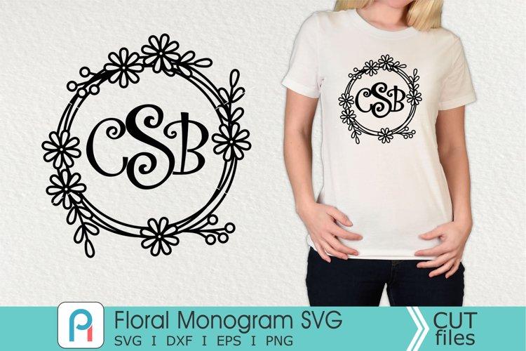 Floral Monogram Svg, Floral Svg, Floral Clipart example image 1