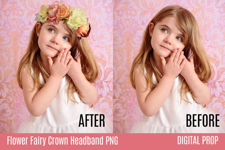 Flower Fairy Crown Headband PNG Digital Overlay