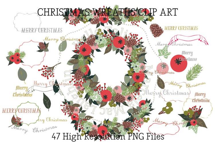 Christmas Wreath Clip Art example image 1