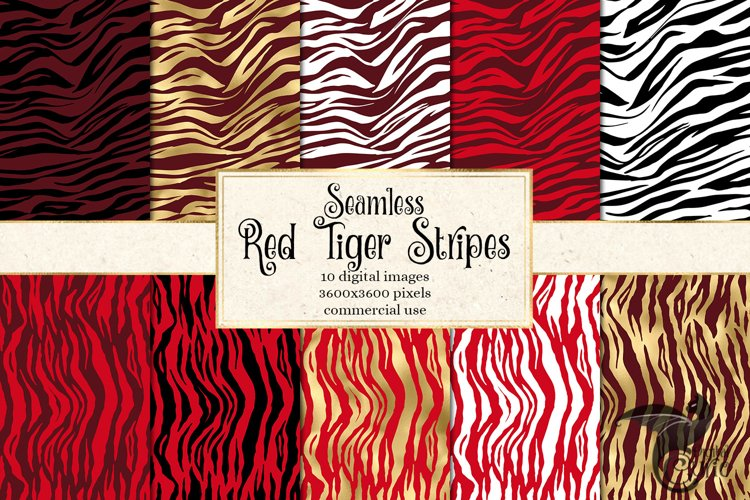 Red Tiger Stripes Digital Paper example image 1