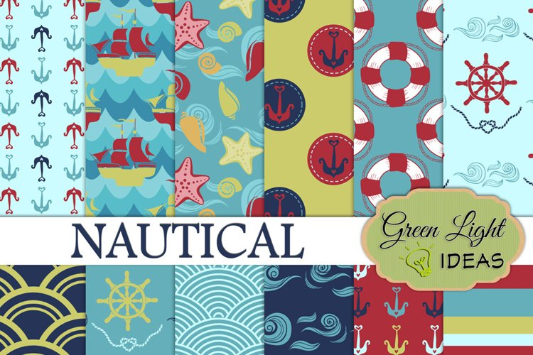 Nautical Digital Papers, Beach Backgrounds example image 1