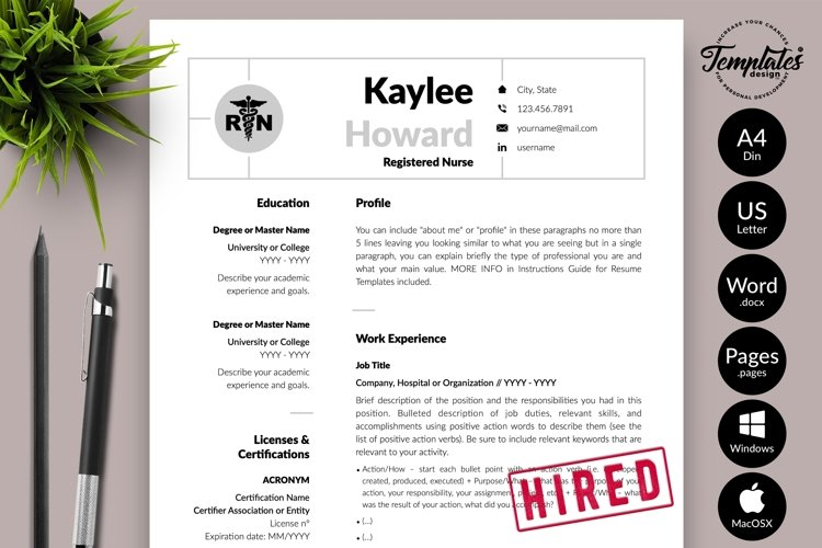 Nurse Resume CV Template for Word & Pages Kaylee Howard example image 1