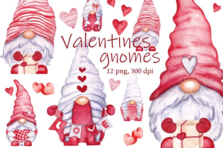 Watercolor gnomes Valentine with love example image 1