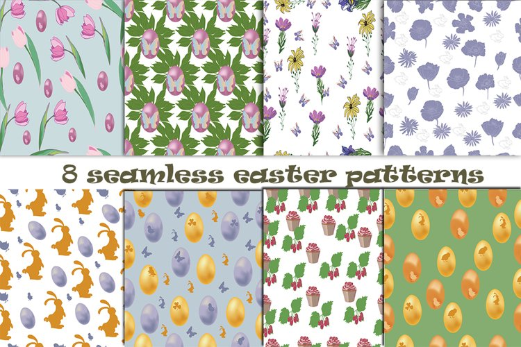 8 Seamless Easter Patterns example image 1