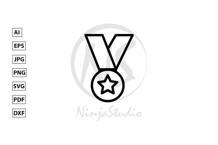 Medal Line Icon In Flat Style Vector example image 1