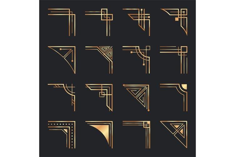 Download Art Deco Corners Golden Geometric Ornamental Corner Frame 1013258 Elements Design Bundles