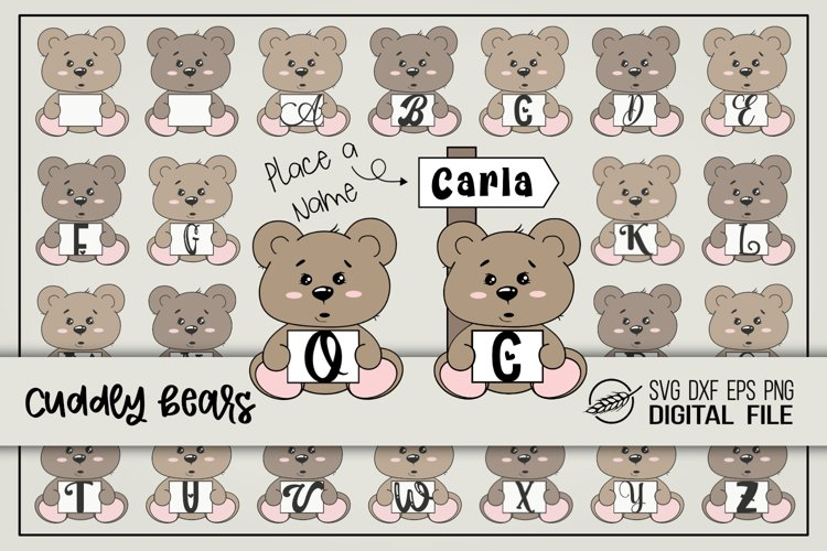 Cuddly bears alphabet with- and without signpost