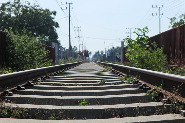 Railroad tracks for train in Indonesia example image 1