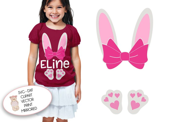 Easter Bunny with Bow and Name   svg cut file