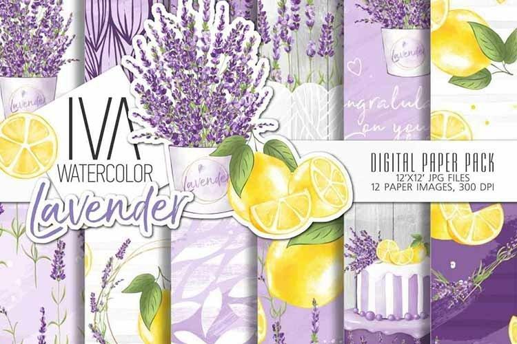 Lavender digital paper pack