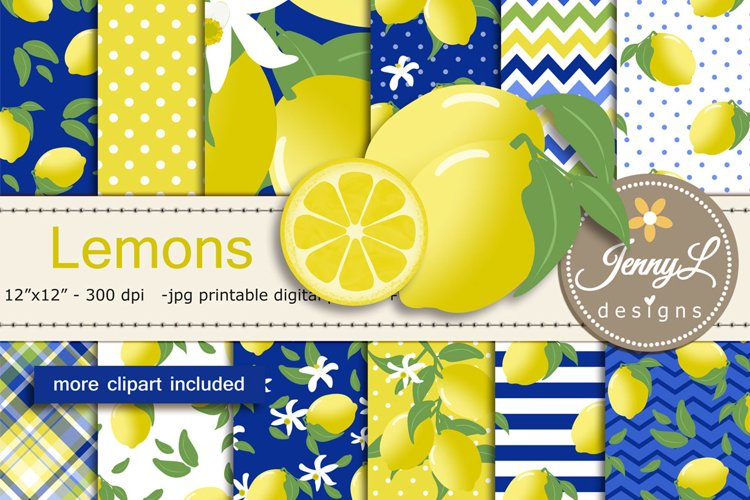 Lemon Digital Paper and Clipart example image 1