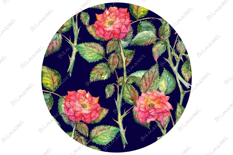 Watercolor pink roses circle pattern texture background example image 1