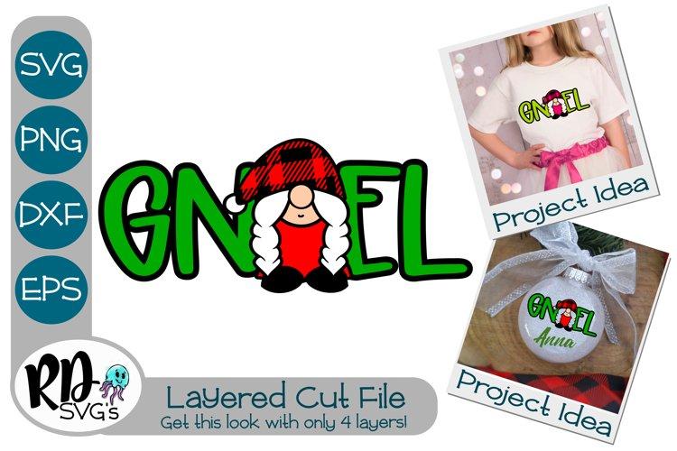 Gnoel Girl Gnome - A Plaid Layered SVG Cricut Cut File example image 1