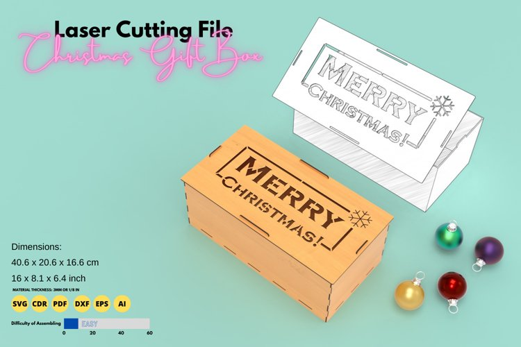 Christmas Box- laser cutting file example image 1