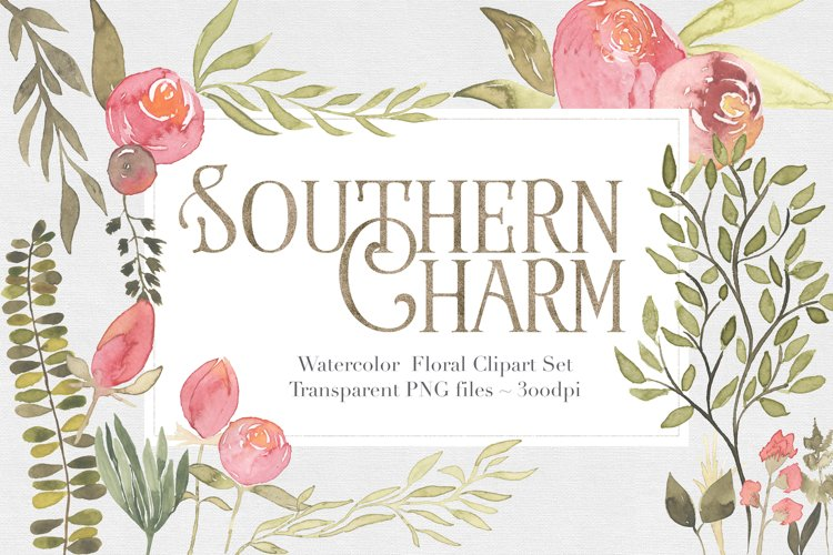 Southern Charm Floral Clipart Set example image 1