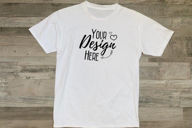 White Summer T-Shirt Mockup/ Wooden Background/ Flat Lay example image 1