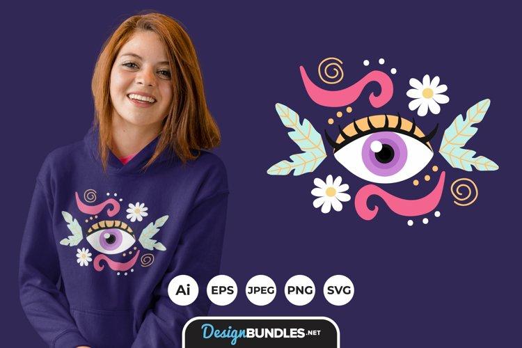 Floral Eye for T-Shirt Design