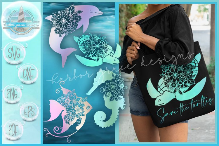 Sea Turtle Dolphin Angel Fish Seahorse Floral Mandala Bundle example image 1