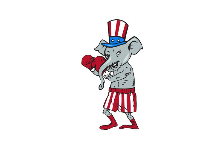 Republican Mascot Elephant Boxer Boxing Cartoon example image 1