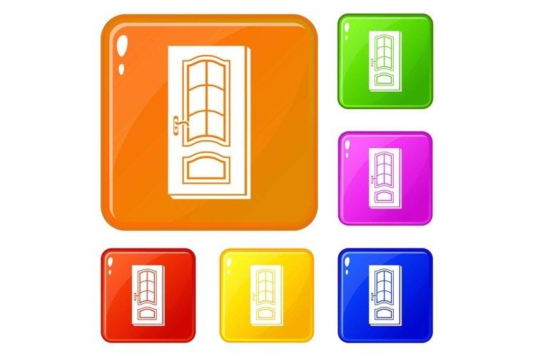 Vertical door icons set vector color example image 1