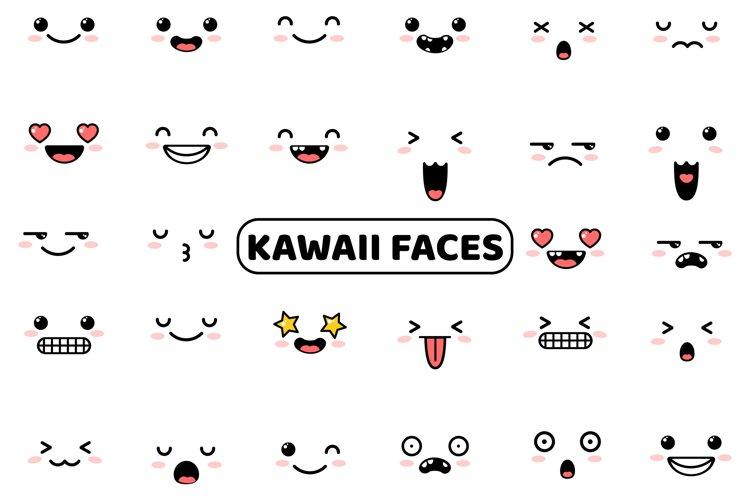 Kawaii Faces Cute Set example image 1