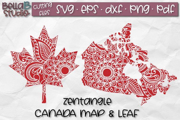 Zentangle SVG, Canada SVG, Canadian SVG, Canada Map, Leaf example image 1